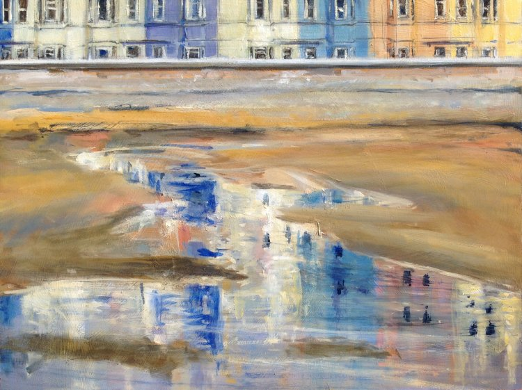 Pastel Reflections on the Beach
