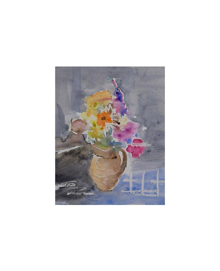 Flowers in brown little jug