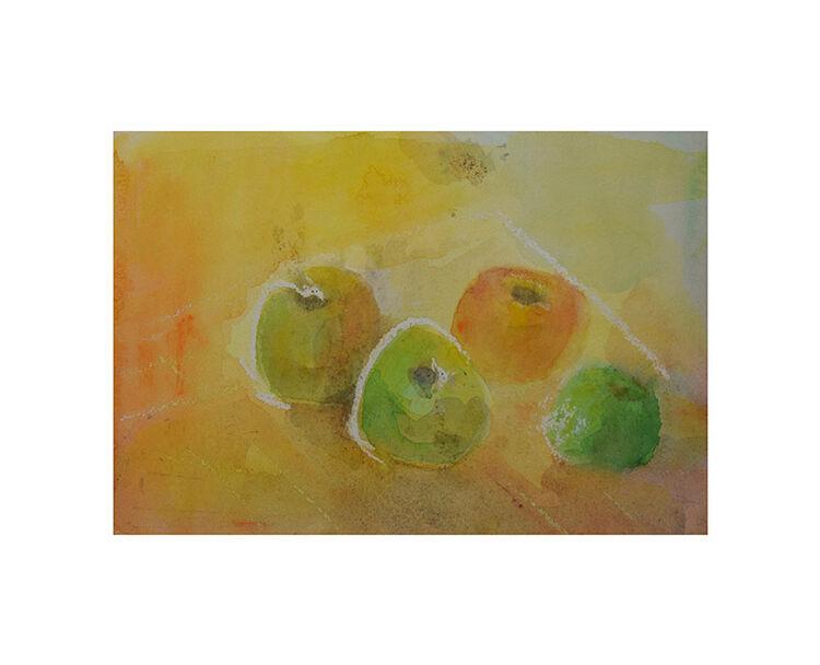 Apples on yellow