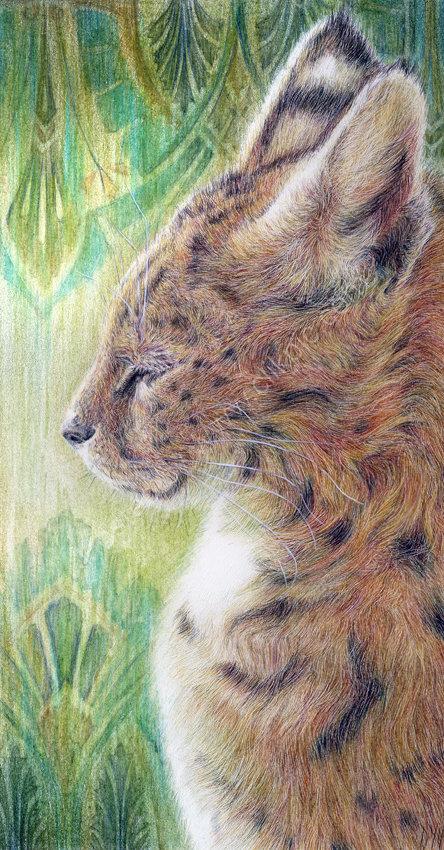 Bastet (Egyptian Cat) - coloured pencil