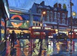 Brixton Station, Dusk and Rain