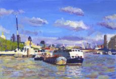 Moored boats on River Thames