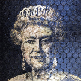 QE2P Enamel & Gold on 2ps.   Framed 40x40cm  £680