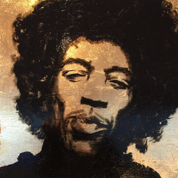 Jimi I. Enamel & Gold Leaf on Board. 35x35cm £450
