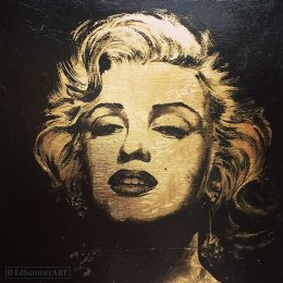 Marilyn. Enamel & Gold Leaf on Board. 35x35cm £350