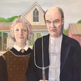 Hampstead Gothic, Oil on Canvas. Mr and Mrs Hill.
