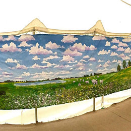 Helen's Wedding Marquee, Acrylic on Canvas, 9 metres.