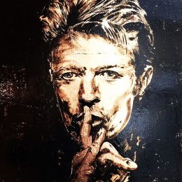 Bowie  Enamel & Gold Leaf on Oak.   35x35cm   £700