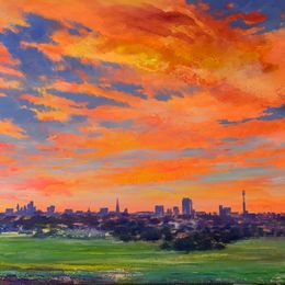 'A July Morning' Primrose Hill. oil on canvas 160x80cm £2500