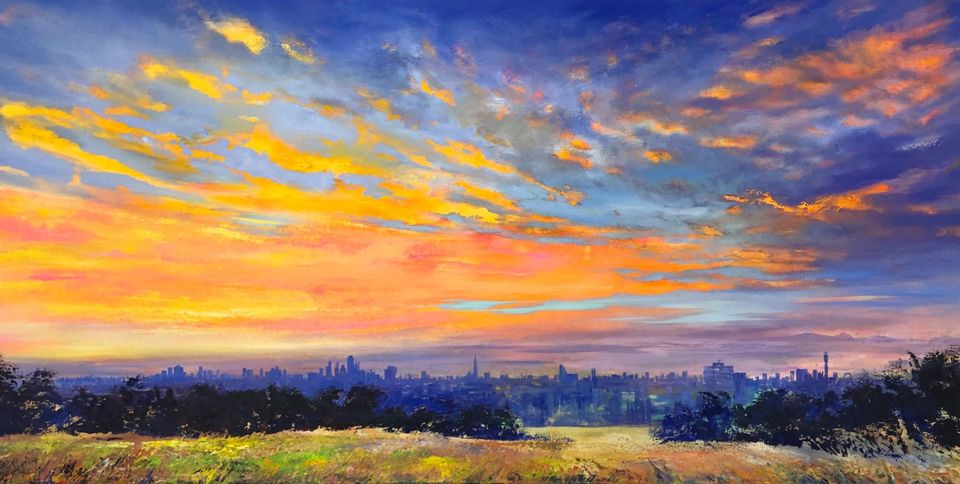 'Cirrus Over London' oil on canvas 160x80cm £2500