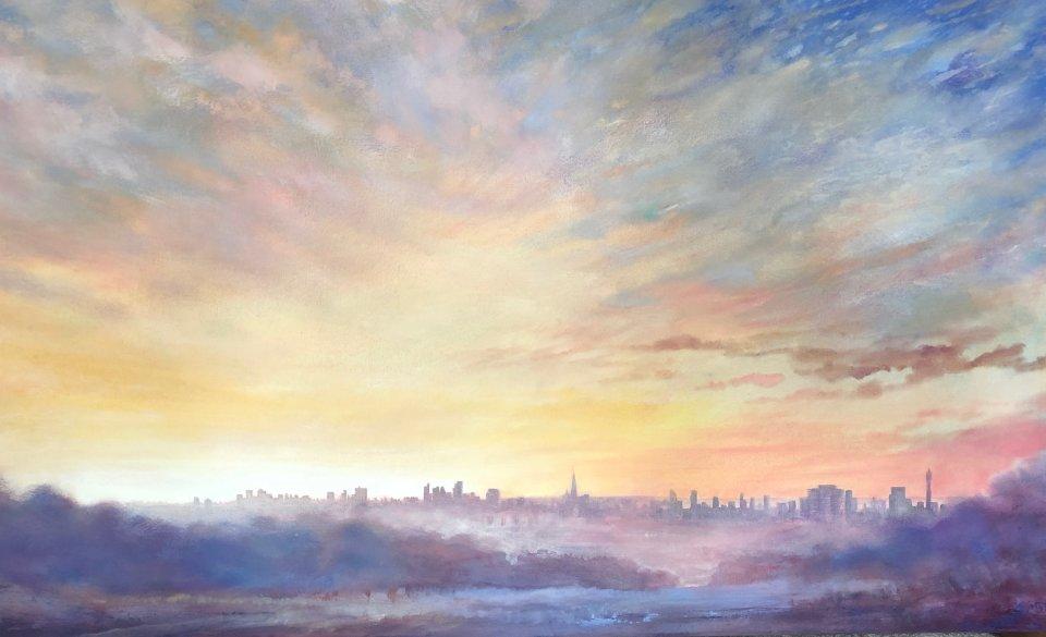 'Burning off the Mist' oil on canvas 113x70cm £2250