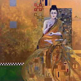 Klimt Buddha by Ed Sumner Framed Ltd Edition Print 70x70cm £180