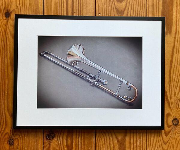 Framed trombone print