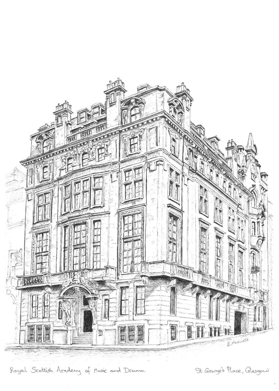 Royal Scottish Academy of Music and Drama, St George's Place (B&W)