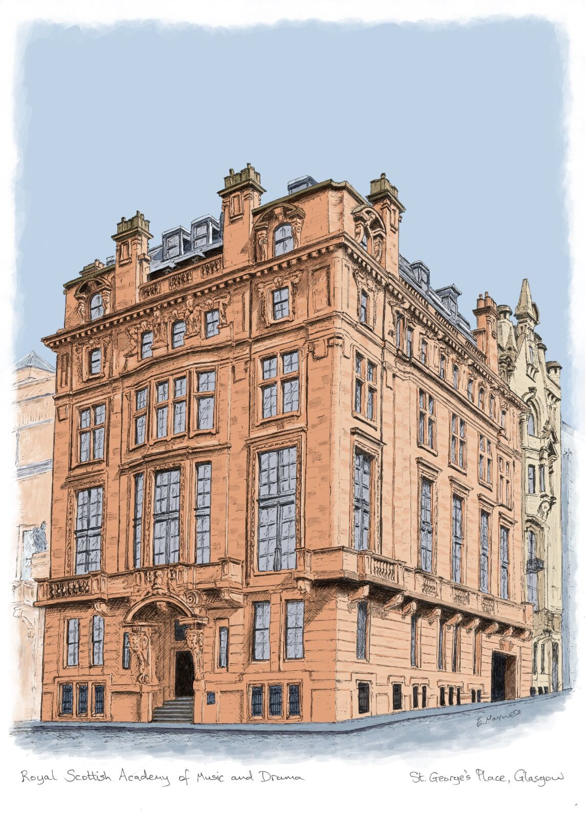 Royal Scottish Academy of Music and Drama, St George's Place (colour)
