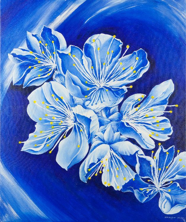 Apple blossom in blue 51x61 Acrylic