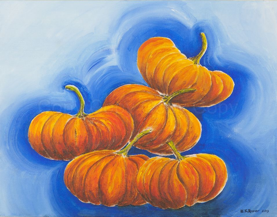 Cheese pumpkin party 46x35.5 Acrylic on board