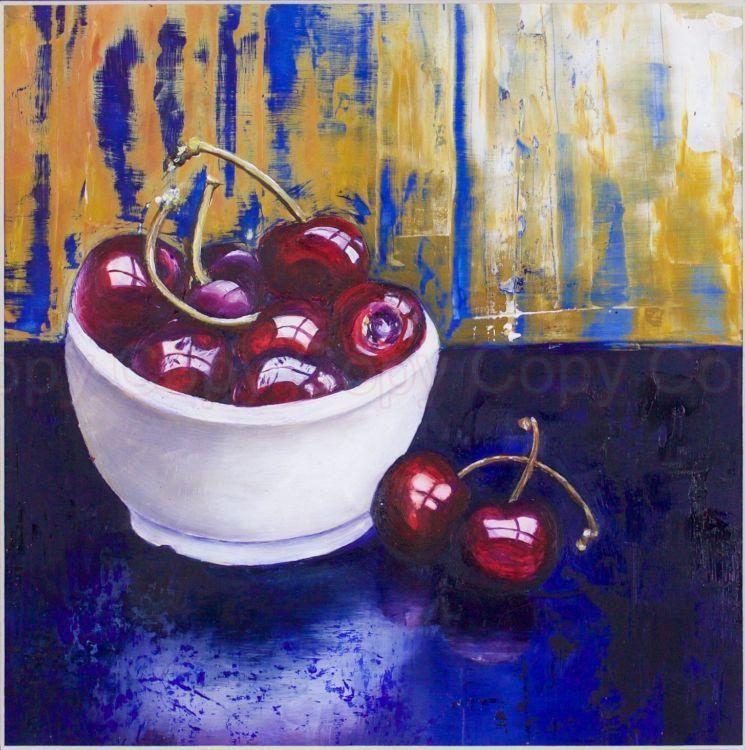 Cherries 35x35 Oil on board