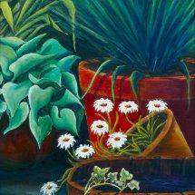 Corner of garden Oil on board 52x62 framed