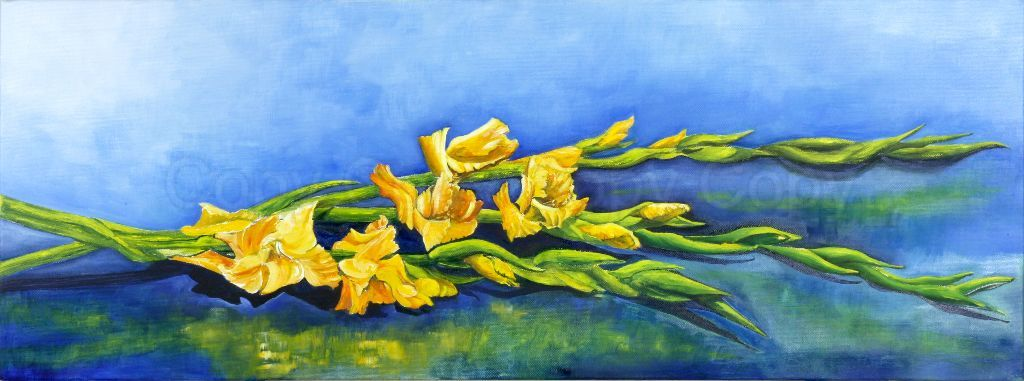 Gladioli Oil on canvas 30x80