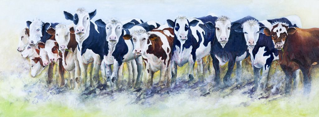 Flixton Cows 80x30 Oil on canvas