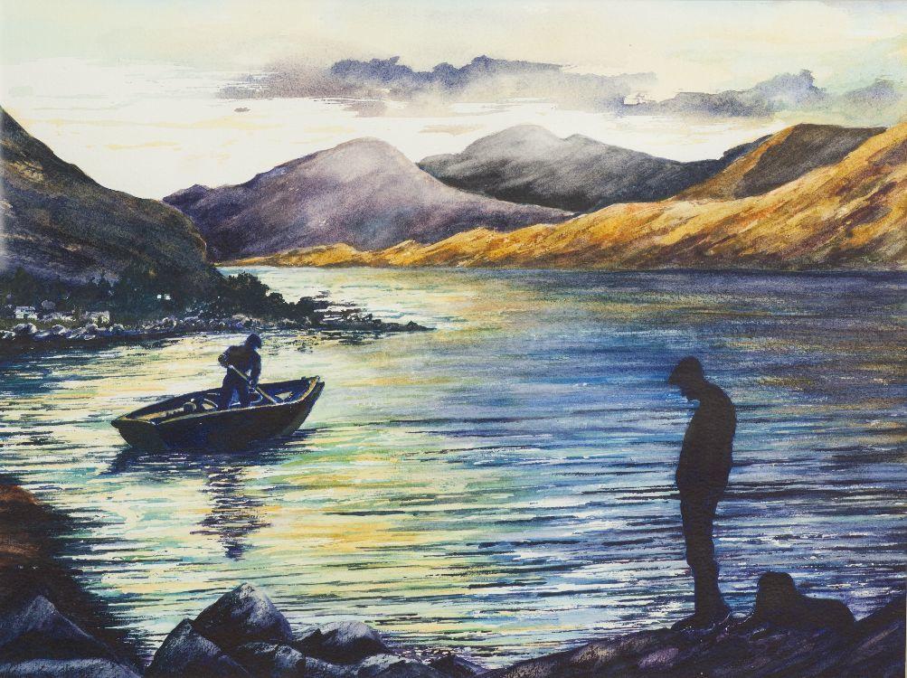 Lakeside County Mayo Ireland 40x50 Watercolour