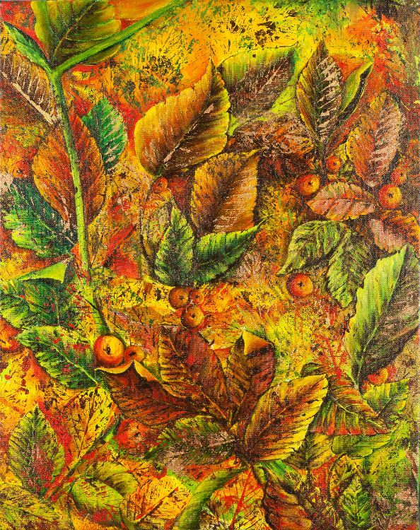 Omagh autumn leaves 40x50 Mixed media