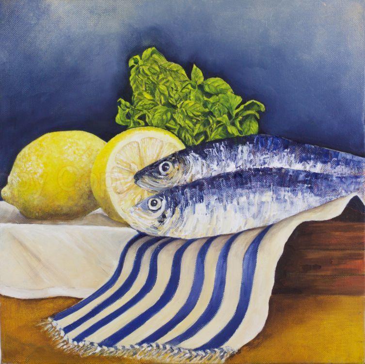 Sardines 30x30 Oil on canvas