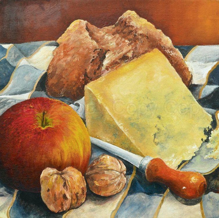 Soda Bread & Stilton 30x30 Oil on canvas