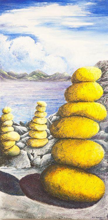Stones at Mellon Udrigle 50x100 Mixed media on canvas