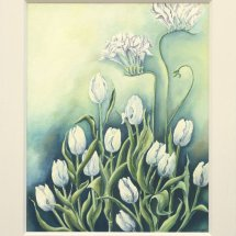 White Tulips and Freesia 52x62 Oil on board