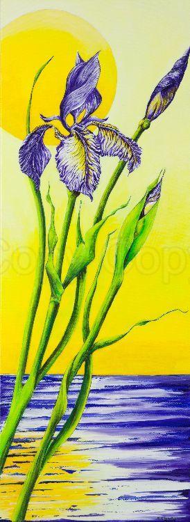 Wild iris japanese style 30x80 Acrylic
