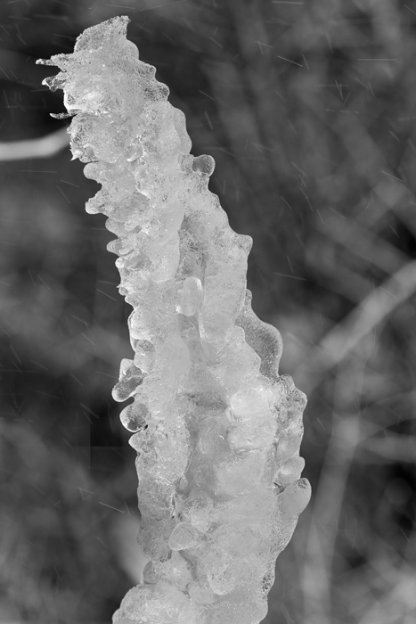 Ice forms, when running water instantly freezes.