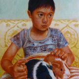 Alex with Guinea Pigs Egg Tempera on true gesso panel 2014 17.5 x 12.5 cm