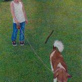 Eiko Matsuura Egg Tempera Boy meets stick egg tempera on true gesso panel 2020 24.0 x 17.0 cm