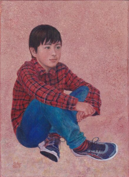 A boy Egg Tempera on true gesso panel 2019 17.5 x 12.5 cm