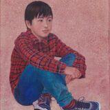 A boy Egg Tempera on true gesso panel 2019 17.5 x 12.5 cm