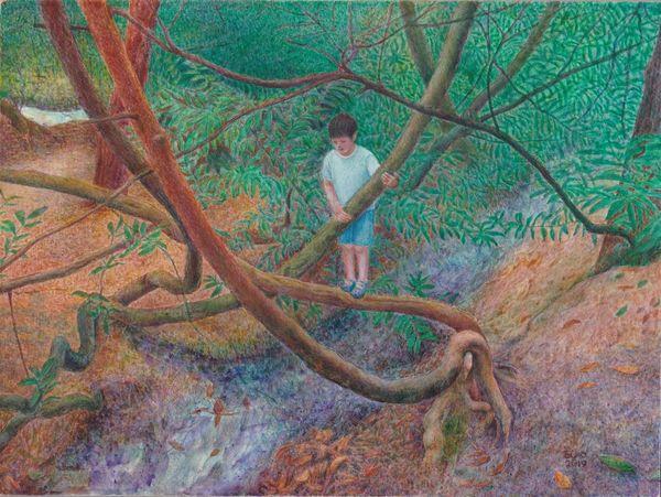 Shoonen to Ki ( Boy and Tree) Egg Tempera on gesso panel 2019 18.0 x 24.0 cm
