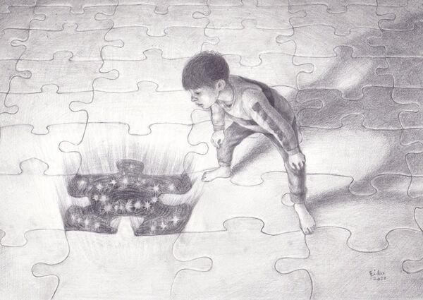 Eiko Matsuura Drawing Missing piece Graphite on paper 2020 21.0 x 29.7cm