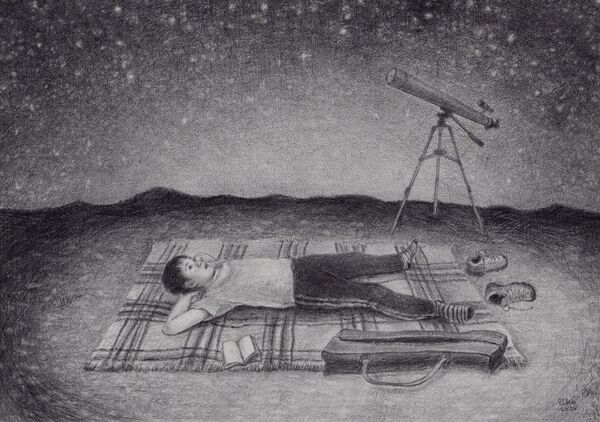 Eiko Matsuura Drawing Mountain view Graphite on paper 2020 21.0 x 29.7 cm