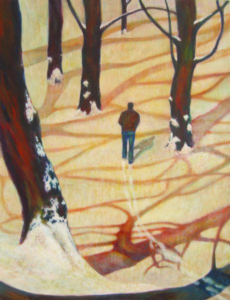 Winter walk in the light Egg Tempera on canvas 2007 29.0 x 25.0 cm