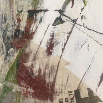 layers of paint sanded back and collage applied