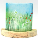 MEADOW WITH DAISIES CANDLE SHADE ON SPALTED BEECH BASE