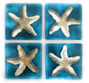 SET OF 4 COASTERS - STARFISH ON AQUA