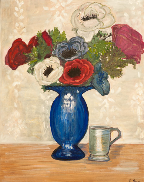 - Anenomes in Blue Vase -