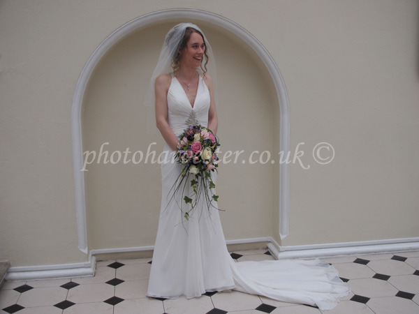 Bride in a Grecian dress