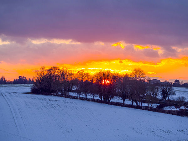 Sunset in snow