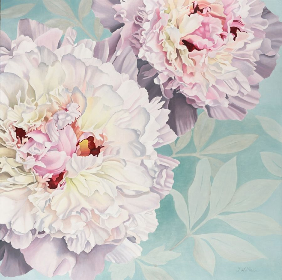 Peony on a blue background