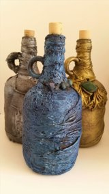 Cloth Wrapped Glass Bottles with Semi Precious Crystals