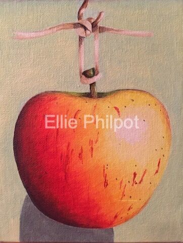 Hanging Apple. Greetings card.